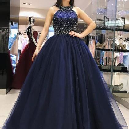 Navy Blue Princess Prom Dress, Swee..
