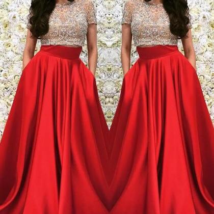 Two Pieces Prom Dress with Short Sl..