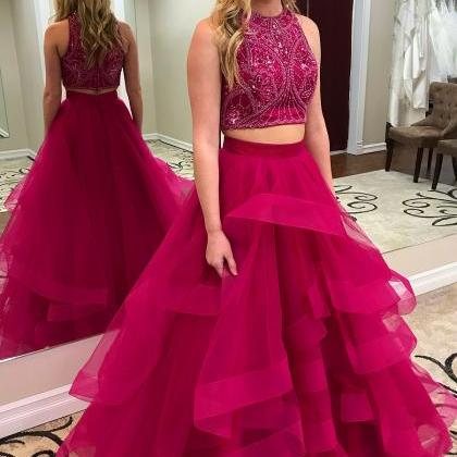 Two Pieces Princess Style Prom Dres..