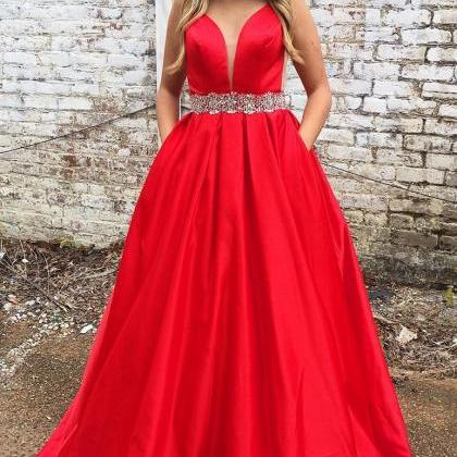 Red Prom Dress with Pockets, Sweet ..