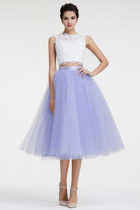 Two Piece Tulle Homecoming Dresses, Formal Dresses, Graduation Party Dresses, Banquet Gowns