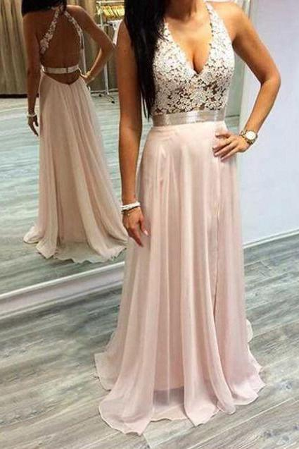 Halter Lace Prom Dresses, Formal Dresses, Graduation Party Dresses, Banquet Gowns