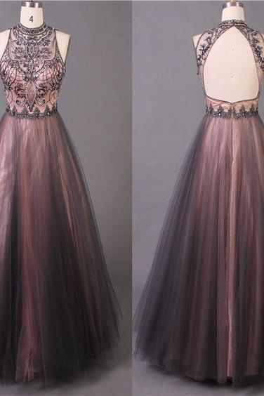 Halter Tulle Prom Dresses with Keyhole Back, Formal Dresses, Graduation Party Dresses, Banquet Gowns