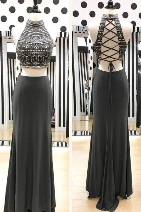 Gray Chiffon Two Piece Prom Dresses, Formal Dresses, Graduation Party Dresses, Banquet Gowns