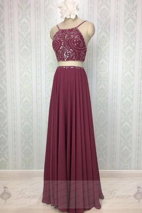 Two Piece Burgundy Prom Dresses, Formal Dresses, Graduation Party Dresses, Banquet Gown with Spaghetti Straps