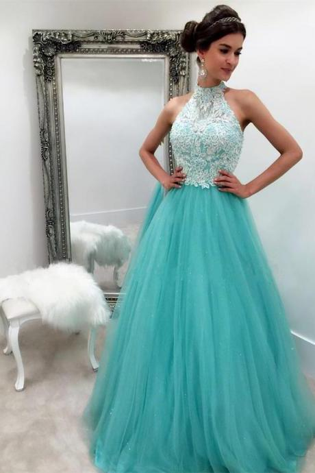 Halter Tulle and Lace Prom Dresses, Formal Dresses, Graduation Party Dresses, Banquet Gown with Spaghetti Straps