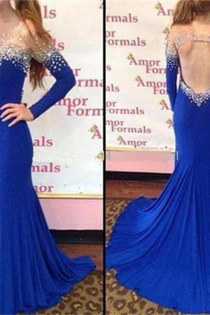 Mermaid Prom Dresses with Long Sleeves, Formal Dresses, Graduation Party Dresses, Banquet Gown with Spaghetti Straps