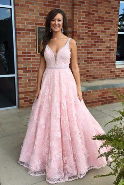 Pink Lace Prom Dresses, Formal Dresses, Graduation Party Dresses, Banquet Gown with Spaghetti Straps