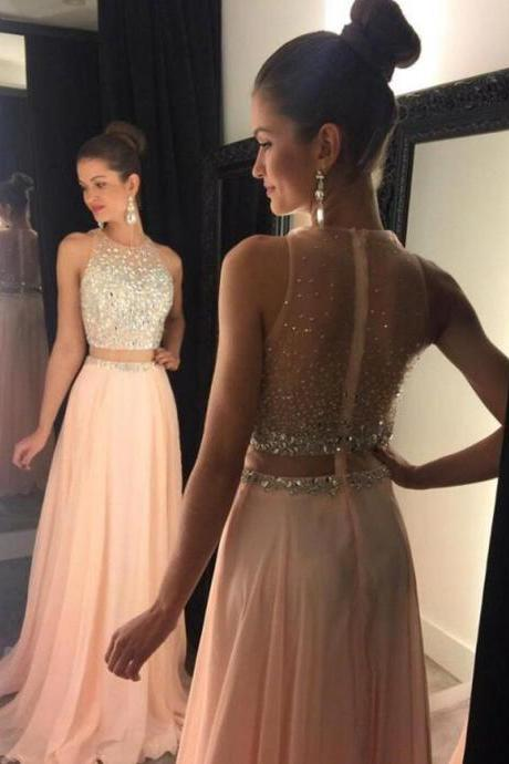 Two Piece Beaded Prom Dresses, Formal Dresses, Graduation Party Dresses, Banquet Gown