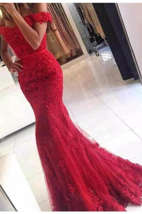Off the Shoulder Lace Prom Dresses, Formal Dresses, Graduation Party Dresses, Banquet Gown