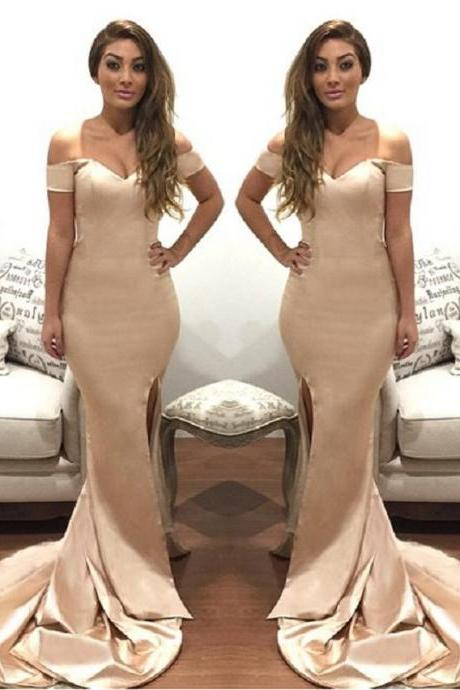 Off the Shoulder Prom Dresses, Formal Dresses, Graduation Party Dresses, Banquet Gown