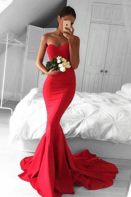 Red Mermaid Prom Dresses, Formal Dresses, Graduation Party Dresses, Banquet Gown