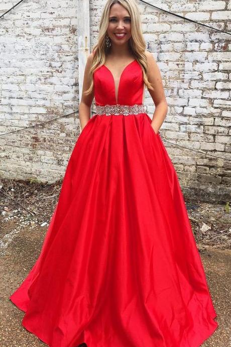 Red Prom Dress with Pockets, Sweet 16 Dress, Evening Dresses, Pageant Dresses, Graduation Party Dresses, Banquet Gown