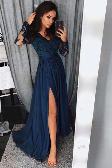 Prom Dress with Sleeves and slit , Sweet 16 Dress, Evening Dresses, Pageant Dresses, Graduation Party Dresses, Banquet Gown