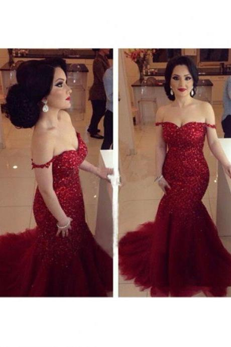 Mermaid Red Prom Dress Evening Party Gown pst0651