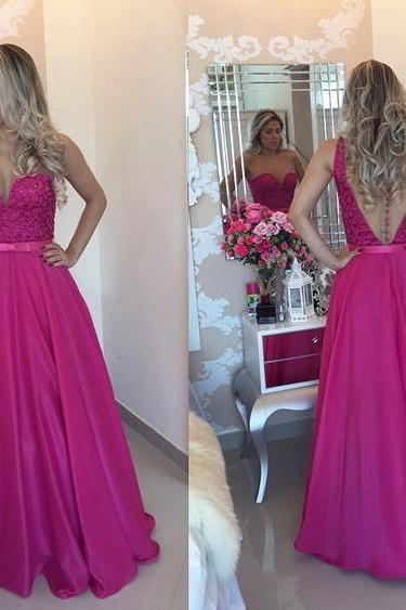 Fuchsia Prom Dress Long to Floor pst0507