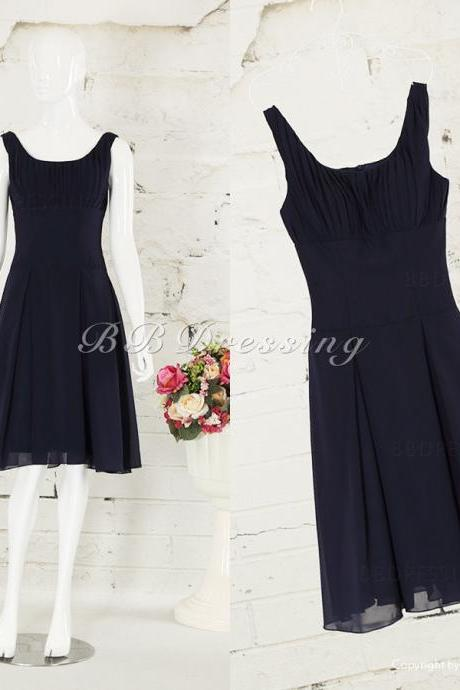 BBDressing Scoop Neckline Knee Length Chiffon Bridesmaid Dresses with Ruched Detail bb0017