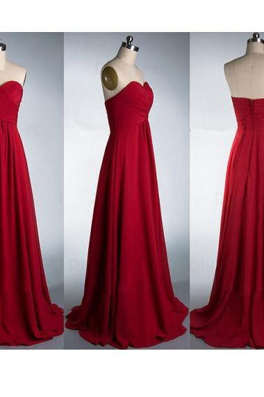 Burgundy Chiffon Ruched Sweetheart Floor Length A-Line Formal Dress, Bridesmaid Dress, Prom Dress