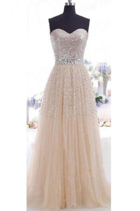 A Line Beaded Floor Length Prom Dresses Sweethear Neckline pst0019