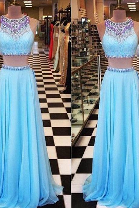Two Pieces Prom Dress Lace Top and Chiffon Skirt Evening Party Dresses pst0985