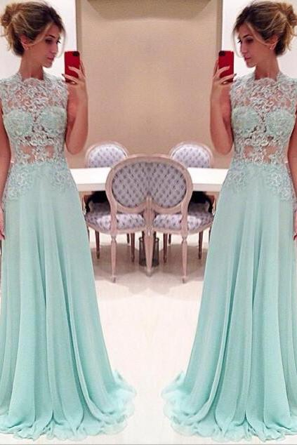 Sheer Top Prom Dress Graduation Dresses pst0984