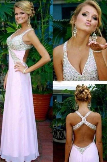 Backless Prom Dress Deep V Neckline Party Dresses pst0945