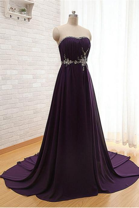 Purple Chiffon Prom Dress Long Evening Party Dresses pst0935
