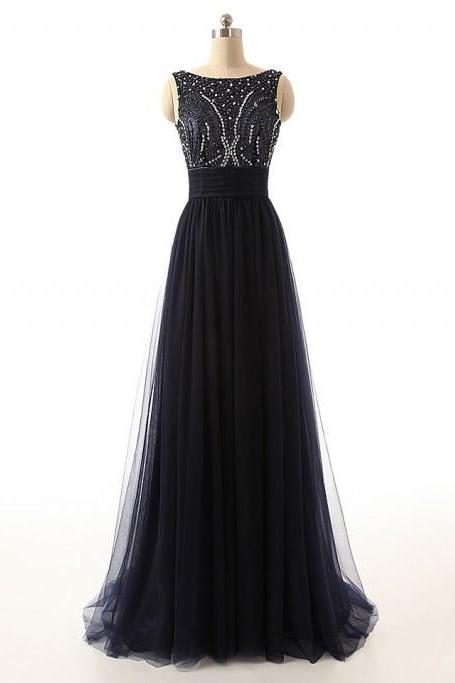 Bateau Neckline Beaded A-line Long Prom Dress with Bowknot Sash and Open Back