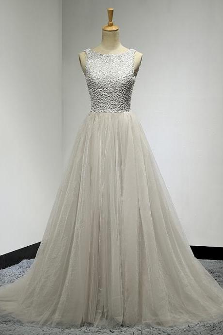 Silver Prom Dresses, Beaded Prom Dresses, Tulle Banquet Gowns, Celebrity Dresses, Wedding Party Dresses