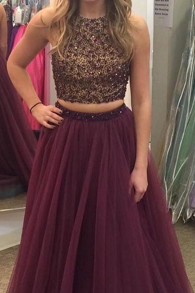 two pieces burgundy prom dresses, hatler prom dresses, wedding party dresses, graduation party dresses,sweet 16 dresses
