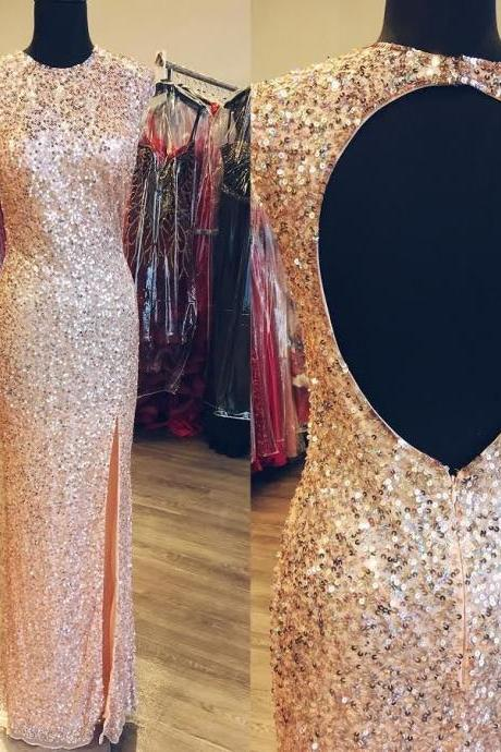 Shiny Prom Dresses Wedding Party Dresses Formal Dresses Sweet 16 Dresses Banquet Dresses with Keyhole Back