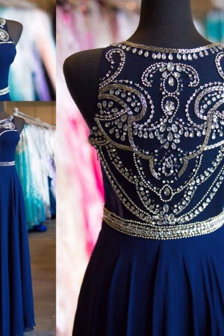 Navy Blue Chiffon Prom Dresses Wedding Party Dresses Formal Dresses Sweet 16 Dresses Banquet Dresses