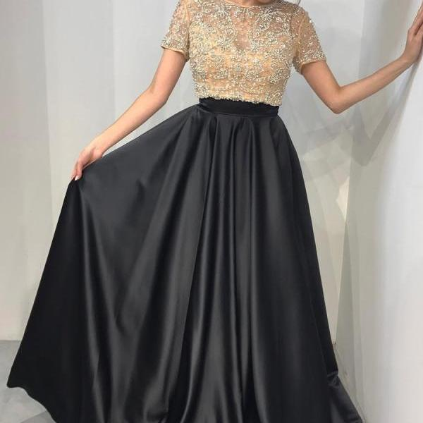 Two Pieces Black Prom Dress with Short Sleeves, Sweet 16 Dress, Evening Dresses, Pageant Dresses, Graduation Party Dresses, Banquet Gown